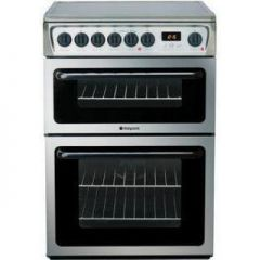Hotpoint HAE60X 60Cm Double Oven Electric, Ceramic With 1 Solarglo , Clock And Minute Minder ,