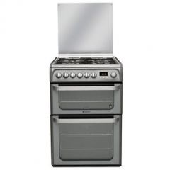 Hotpoint HUD61GS 60Cm Dual Fuel Double Cooker With Gas Hob Graphite