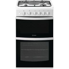 Indesit ID5G00KMW Twin Cavity 50Cm Wide Gas Cooker White