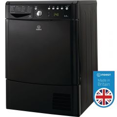 Indesit IDCE8450BKH 8Kg Ecotime Condenser Tumble Dryer In Black, B Rated