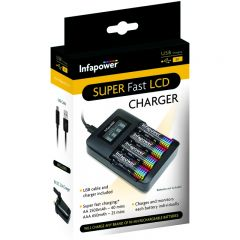 Infapower C013 1 Hour Supper Fast LCD Charger USB Mains