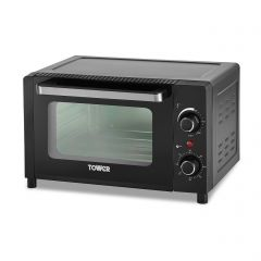 Tower T14042 12L Mini Oven Black With Silver Accents
