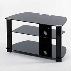 TV Stands Uk UKGL-2407 32` TV Stand Black Legs And Black Glass