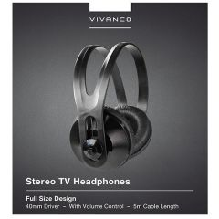 Vivanco 36503 Stereo TV Headphones 5M Cable Volume Control 40Mm Driver
