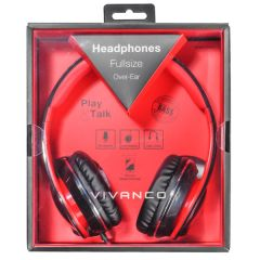 Vivanco 37572/SR660 Hifi Over Ear Headphones, Red/Black With Microphone For Use With Iphone And Smar