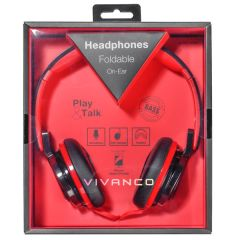 Vivanco 37573/SR770 Foldable On Ear Headphones Red/Black With Mircophone
