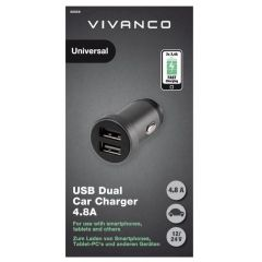 Vivanco 38858 USB Dual Car Charger 4.8A 2X2.4A Fast Charger