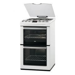 Zanussi ZCG552GWC 55Cm White Double Oven Gas FFD Fitted 41 Ltrs Top, 80 Ltrs Main 4 Hob Burner