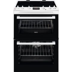 Zanussi ZCV66078WA Agency 60Cm Electric Double Oven With Ceramic Hob - White - A/A Rated